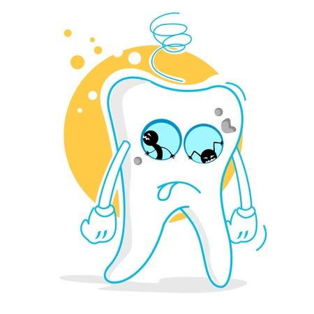bad eyes: illustration of sad teeth on white background Illustration
