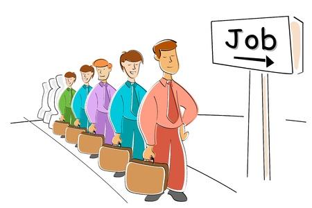 Ilustración de los hombres esperando trabajo sobre fondo blanco