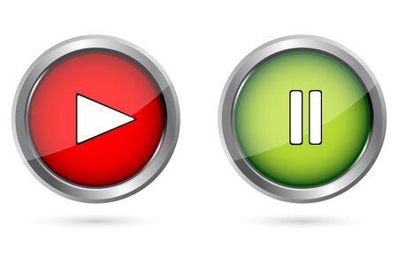 Illustration de jeu boutons-poussoirs sur fond isolé