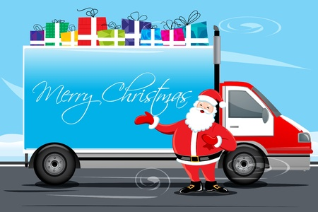 trucking: illustration of christmas card with cargo Illustration