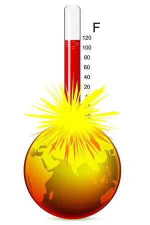 illustration of temperature of earth on white background