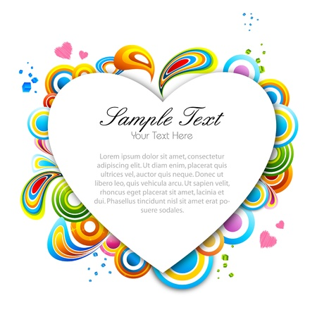 illustration of multicolored valentine card on white background