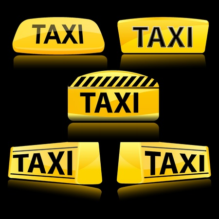 taxicab: illustration of taxi icons on white background