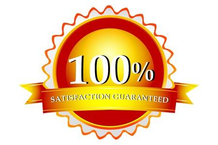 surety: illustration of 100% satisfaction  guaranteed logo on white background