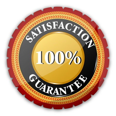 illustration of 100% satisfaction  guaranteed logo on white background Stock Vector - 8637631