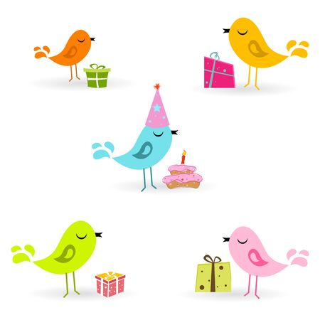 illustration of birthday card with birds and present on white background Stock Vector - 8637191