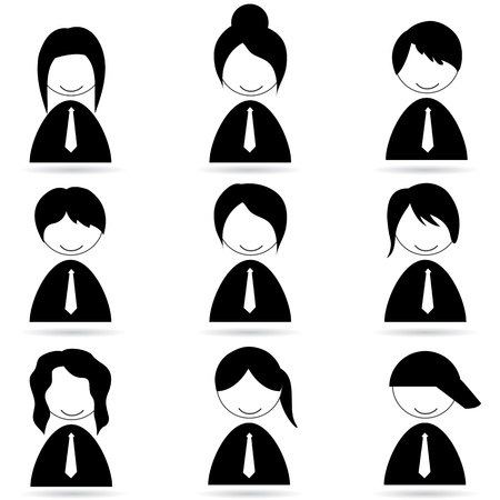 illustration of different human icons on white background Vector