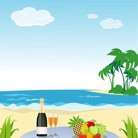 beach scene: illustration of beach scene Illustration