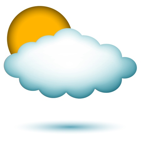 illustration of cloud with sun on isolated background Stock Vector - 8637628