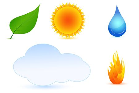 illustration of types of weather on white background Stock Vector - 8637143