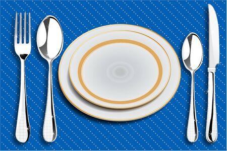 mesa de comedor: Ilustraci�n de los acuerdos de la mesa de comedor con cucharas y placas
