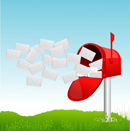 arrive: illustration of letterbox with letters Illustration