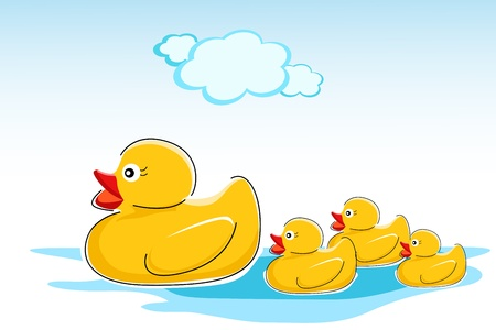 rubber ducky: illustration of ducks in water