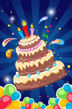 wish of happy holidays: illustration of cheerful birthday card on white background