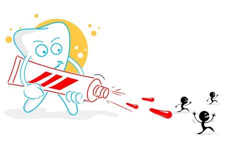 propret�: Illustration de dents heureuses sur fond blanc