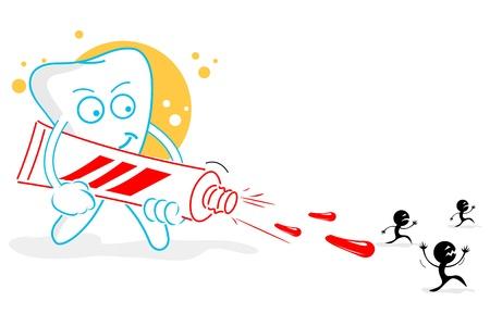 aseo personal: Ilustración de dientes felices sobre fondo blanco
