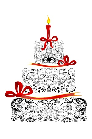 victorian anniversary: illustration of floral birthday cake  on white background