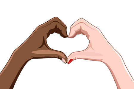 truelove: illustrazione di dalle dita su sfondo bianco a forma di cuore