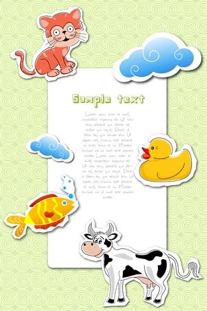 toy ducks: illustration of kids card on white background Illustration