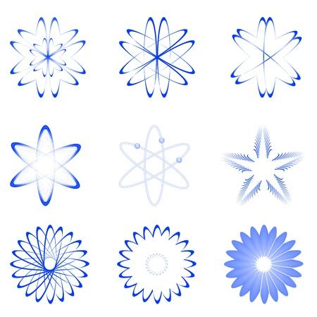 quantum physics: illustration of different shapes of atom on white background Illustration