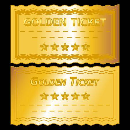 Abbildung der golden Tickets auf schwarzem Hintergrund Vektorgrafik