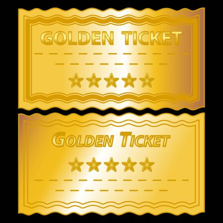 golden frames: illustration of golden tickets on black background