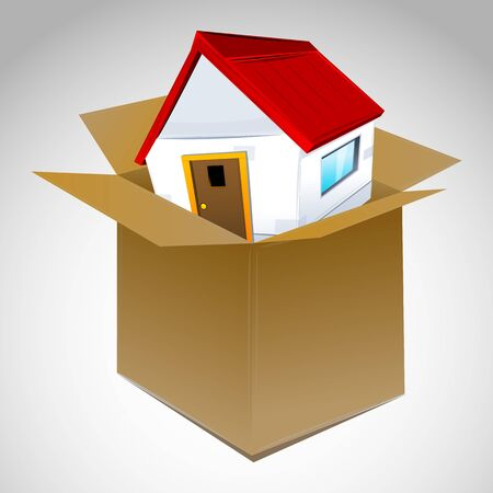 packing boxes: illustration of house in box Illustration