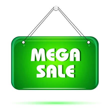 illustration of mega sale tag on white background Vector