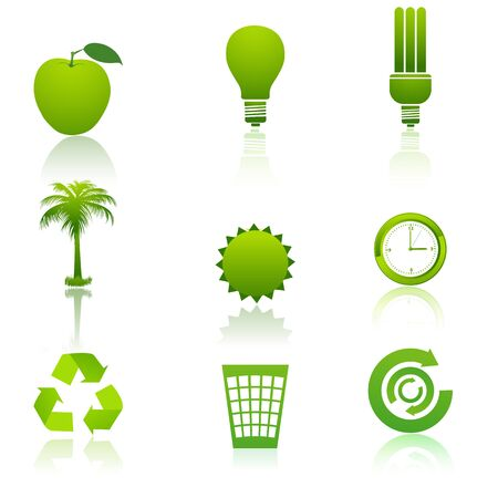 illustration of recycle icons on white background Vector