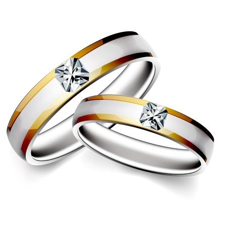 白い背景の上の結婚指輪のイラスト  イラスト・ベクター素材