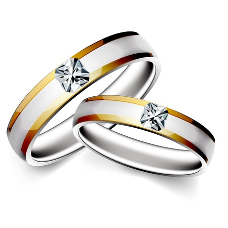 illustration of wedding ring on white background Ilustração