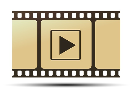 video shooting: illustration of reel with play icon on white background