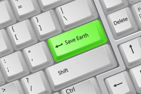 function key: illustration of save earth on white background Illustration