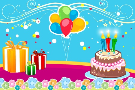 illustration of abstract birthday card on white background Vector