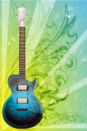 guitarra clásica: Ilustraci�n de la tarjeta de m�sica florales sobre fondo blanco