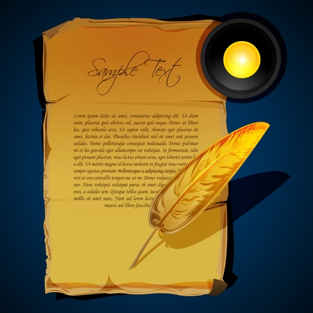 illustration of writing feather Vector
