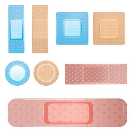 illustration of bandage icons on white background Vector