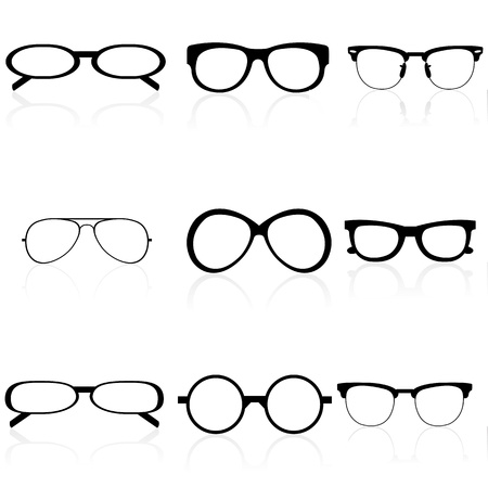 reading glass: illustration of different eye wears on white background