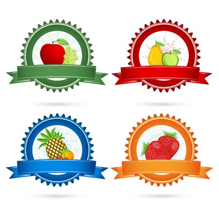 illustration of fruit tags on white background