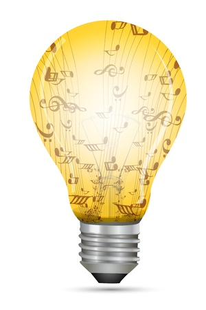 illustration of electric bulb with music texts on isolated background Vector