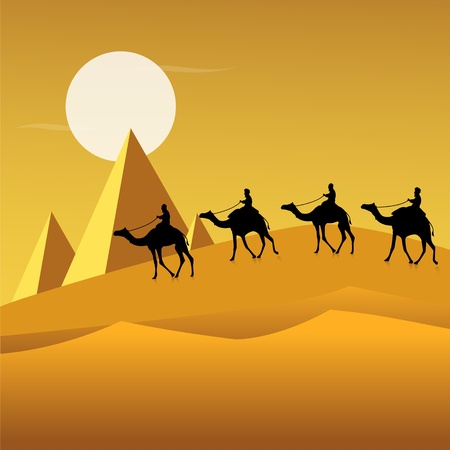 illustration of tourists on camels in desert Vector