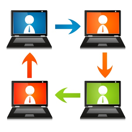 touchpad: illustration of networking on white background