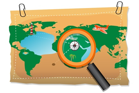 illustration of map with compass and lens on white background Stock Vector - 8637398