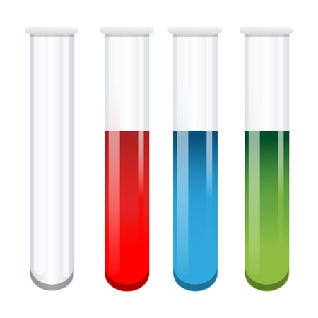 test glass: illustration of test tubes on white background