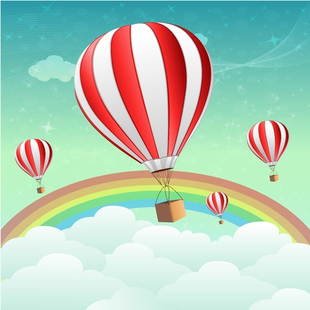 sky diving: illustration of parachutes with rainbow
