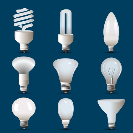 fluorescent tube: illustration of different shapes of cfl and bulb Illustration