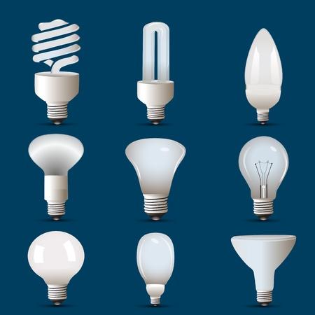 tubos fluorescentes: Ilustración de las diferentes formas de cfl y el bulbo