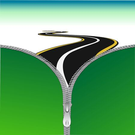 long road: illustration of road with zip Illustration