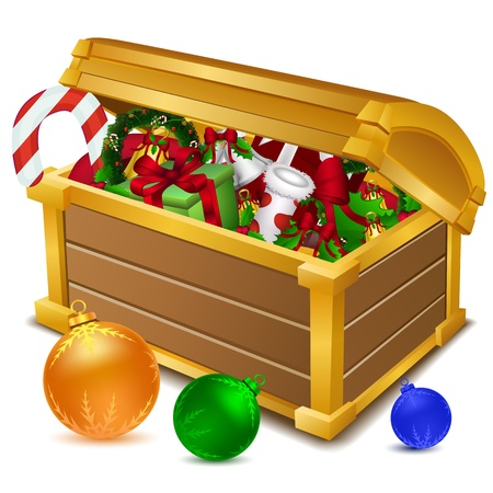 toffee: illustration of treasure chest full of christmas goodies on white background Illustration