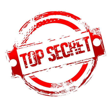 Illustration de top secret timbre sur fond isol�